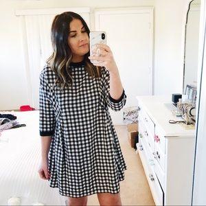 3/4 sleeve checkered babydoll dress